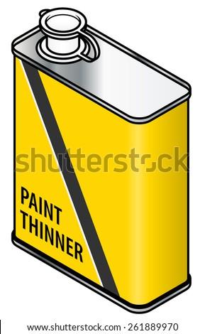A yellow rectangular metal tin of paint thinner. Stock photo ©