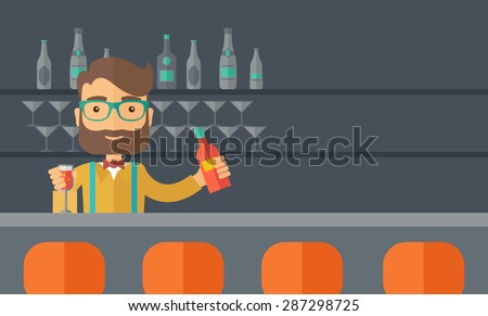 a young bartender preparing a