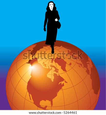 A young businesswoman stands on top of the world