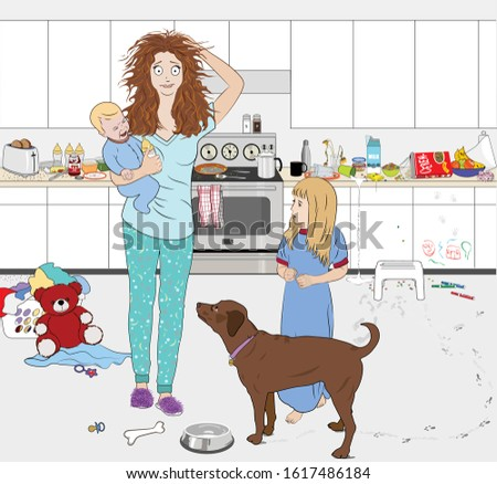 A young busy mother in pajamas holding a baby, touching her head with an anxious expression, standing in a modern messy kitchen with a young girl and a dog beside her, seemingly overwhelmed by it all.