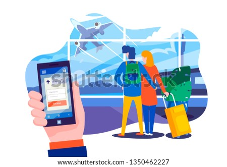 A young couple at the airport awaiting departure of their flight. Passengers with luggage in the airport terminal. planning vacation and buying plane tickets online in the app. Waiting for vacation.
