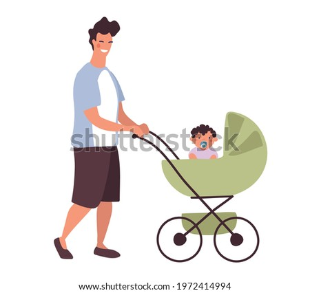 A young daddy walks with a baby in a stroller. A man with a newborn son on a walk in a baby carriage. Flat character design isolated on white background. Stock photo ©