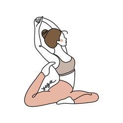 A young faceless girl  performs stretching yoga exercises. Pilates, healthy lifestyle. Linear style. Vector illustration isolated on white background. For business cards, posters, web