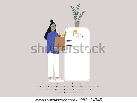 A young female Asian character putting groceries into the fridge, daily household chores Foto stock ©