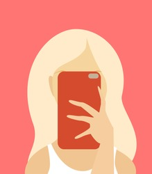 A young girl holding a phone in front of her face. Technology addiction. Vector illustration.