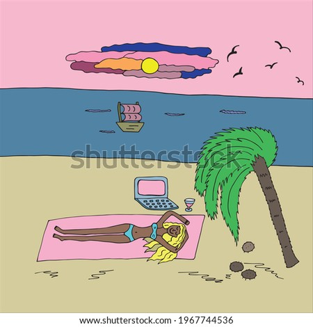 A young girl in a swimsuit lies on the beach by the sea, an island with palm trees. The woman relaxes and uses a laptop. Remote work, freelance, online work on the Internet. Drawn by hand in a doodle