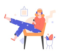 A young girl in headphones with a smartphone sits in a chair. Dressed in pajamas. Casual home comfort. Listens to an educational course, podcast, music or audiobook. Online media. Vector illustration
