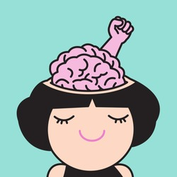 A Young Girl With A Brain And Hand Raised Up Inside Her Open Head Skull, Symbol Of Fighting, Showing Freedom, Revolution, Protest Concept Card Character illustration