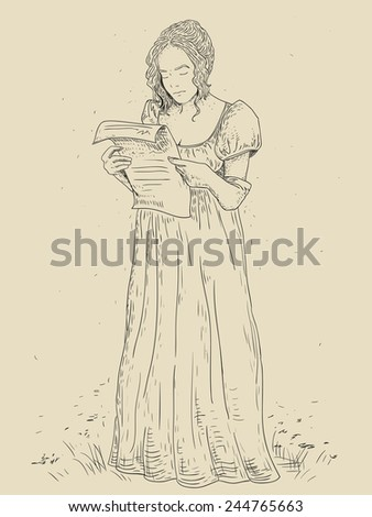 a young girl with a letter in