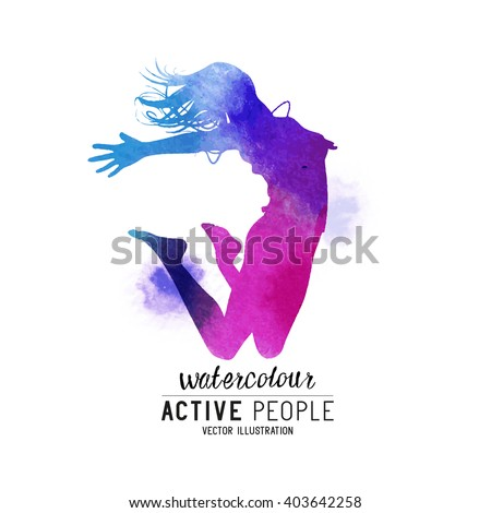 A young lady jumping into the air. Vector illustration.