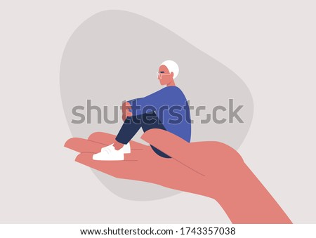A young male character sitting on a hand palm, psychotherapy, help and support, a counseling session