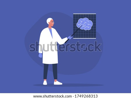 A young male doctor pointing at the x-ray image of human brain, cognitive science Foto stock ©