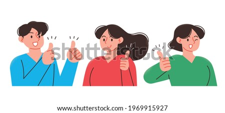 A young man and woman with thumbs up. Business person upper body illustration.