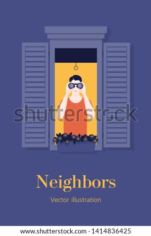 A young man from the window looking through binoculars. Neighborhood. Spy. Curious neighbor. Vector flat illustration
