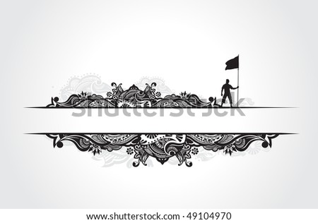 A young man holding a black flag with space of your text banner, vector illustration - stock vector