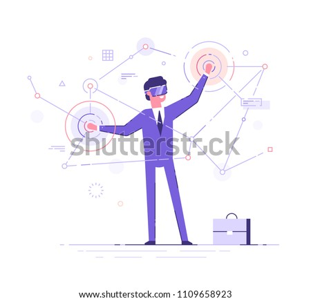 A young man in formal suit wearing virtual reality goggles and headset with a projection of a digital world. Business concept. Flat vector illustration.