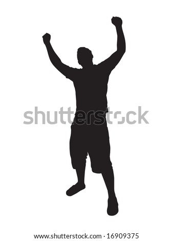 A young man joyously throws his hands up in the air.