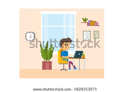 A young man sits at a table and works with a laptop. Pixel art. Old school computer graphic. 8 bit video game. Game assets 8-bit sprite. 16-bit.