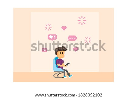 A young man sits in a chair and reads messages on a smartphone.   Pixel art. Old school computer graphic. 8 bit video game. Game assets 8-bit sprite. 16-bit.