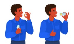A young man takes a pill, smiling, showing approving gesture thumbs up. An African American boy holds a cardboard box of pills. Ad for medical tablets, drugs. Vitamins advertising. Before and after.