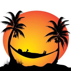 a young men relaxing on a hammock in the moonlight between two palm trees