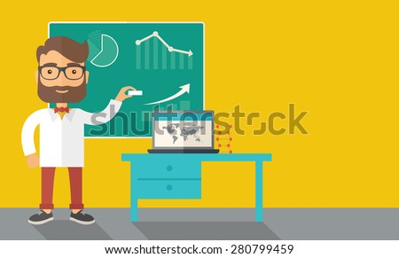 A young professor holding a chalk sketching a graphs and teaching on how to develop a business worlwide. A Contemporary style with pastel palette, dark yellow tinted background. Vector flat design