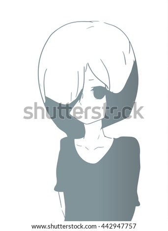 a young sad girl in anime style