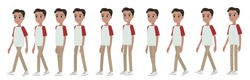 A young schoolboy or student, a character for animation. The walk of a dark boy. 2d sequences for motion design.
