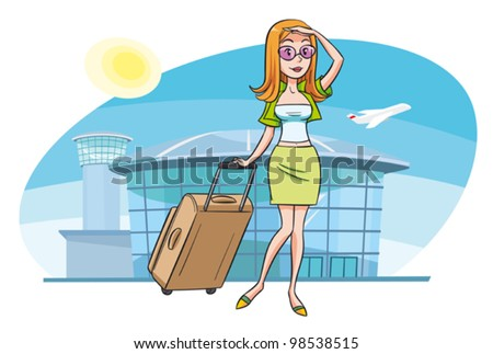 A young woman at the airport going on vacation. A person is grouped separately and can be easily moved or scaled against the background.