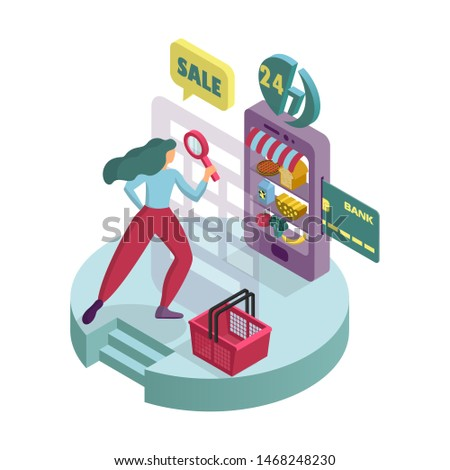 A young woman buys products in an online supermarket. Isometric 3D icon. Infographics. Illustration of payment by card. Food on the virtual showcase. Isolated composition of objects on a white