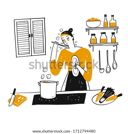 A young woman cooks in her kitchen. Hand drawn, Vector Illustration doodle style. Stock foto ©