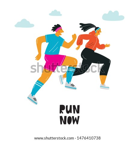 A young woman in a sports uniform is running. A man runs a marathon. Sport vector illustration in modern style. Lettering quote - Run now