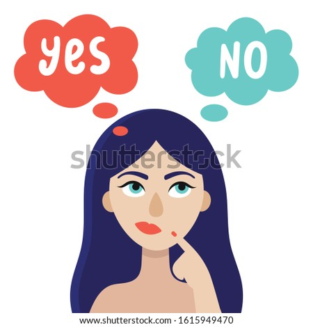 A young woman is thinking about what decision to make. The concept of choice.Yes or no.Doubts, worries.Flat vector illustration on white background.