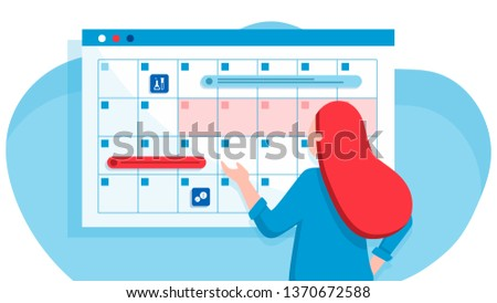 A young woman marks the date of menstruation in the online calendar. An app for tracking your menstrual cycle and birth control. Website vibrant violet landing web page template.