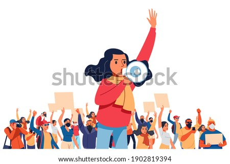 A young woman shouts through megaphones, supporting the protests against the background of discontented people protesting. Flat design colorful illustration isolated on white. Foto stock ©