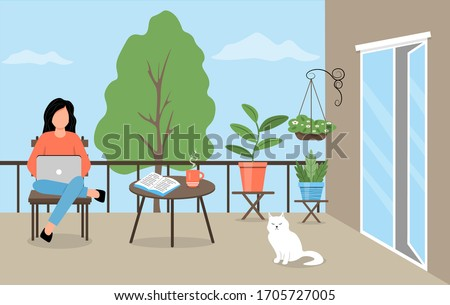 A young woman sits on a balcony among plants. Woman works on laptop on the balcony. Girl works or studies online. A cozy balcony with a cat, flowers and garden furniture. Cute vector illustration.