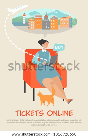 A young woman sitting in a chair buys tickets online using a laptop. Travel planning