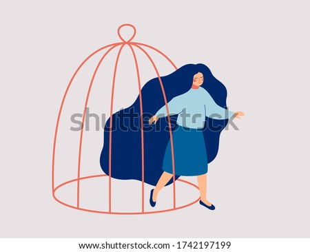 A young woman steps out of the cage. The female character is getting out of a confined space. Concept of freedom, mental rehabilitation and opening up new opportunities for personal development.Vector