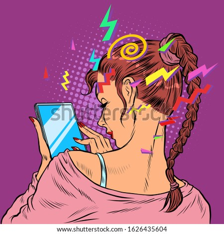 A young woman with a smartphone. Techniques and gadgets. Pop art retro vector illustration 50s 60s style