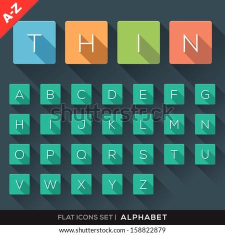 a z flat icons alphabet letter
