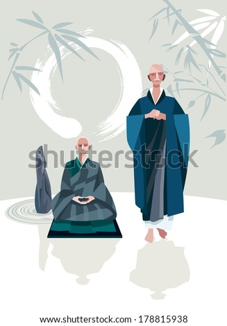 A Zen Master and one of his disciples in a Zen garden. A large calligraphic circle that represents emptiness. They belong to the tradition of Zen Buddhism.