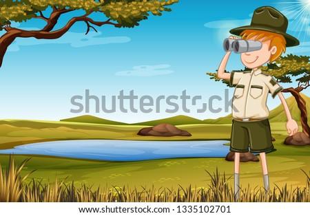 A zookeeper in savana illustration Foto stock ©