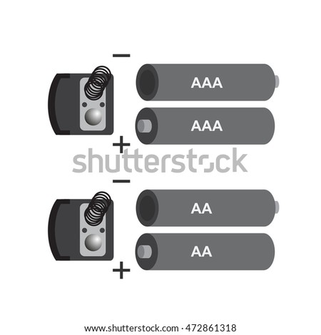 aaa and aa battery icon  vector