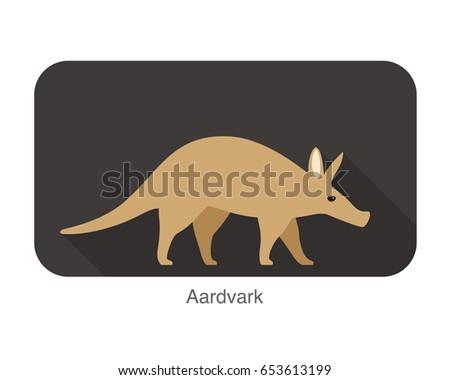 aardvark walking flat icon