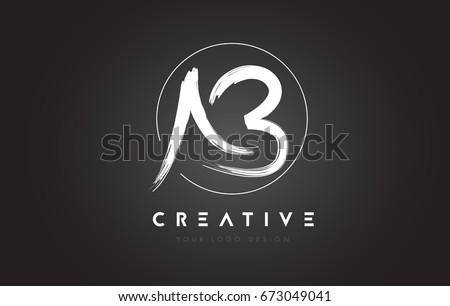 ab brush letter logo design