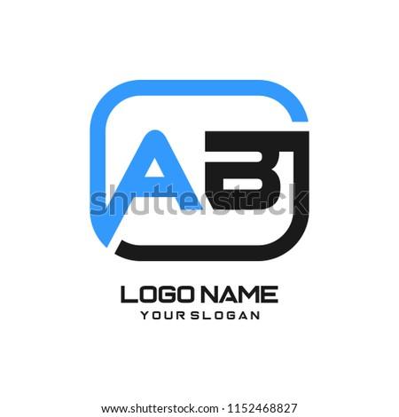 ab initial box letter logo