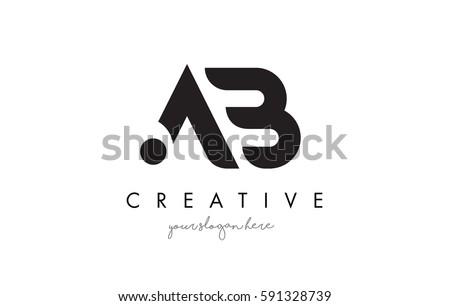 ab letter logo design with