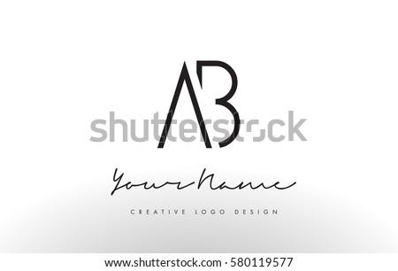 ab letters logo design slim