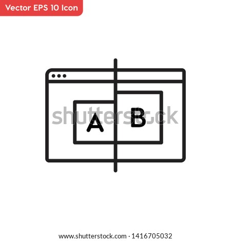 AB testing, AB screen vector icon