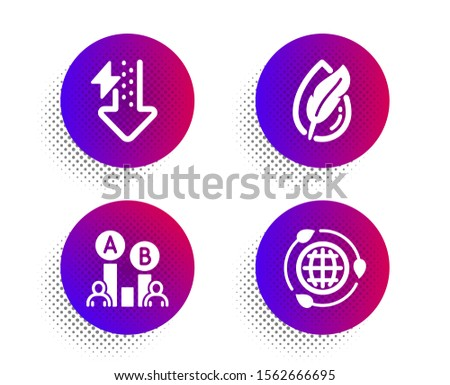 Ab testing, Energy drops and Hypoallergenic tested icons simple set. Halftone dots button. Eco energy sign. Test chart, Power usage, Feather. Ecology. Science set. Classic flat ab testing icon. Vector